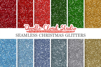 SEAMLESS Christmas Glitter digital paper, Colorful winter sparkling