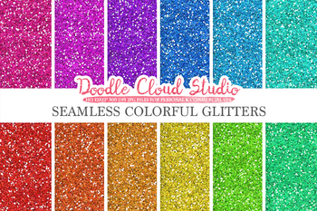 SEAMLESS Colorful Glitter digital paper, Colorful sparkling Background