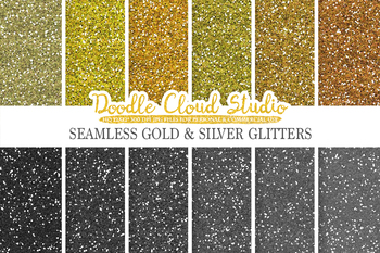 SEAMLESS Metallic Glitter digital paper, Gold Steel Silver Copper Bronze