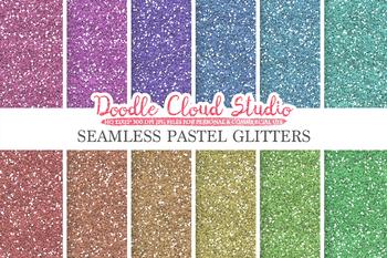 SEAMLESS Pastel Glitter digital paper, light colors, sparkling Backgrounds