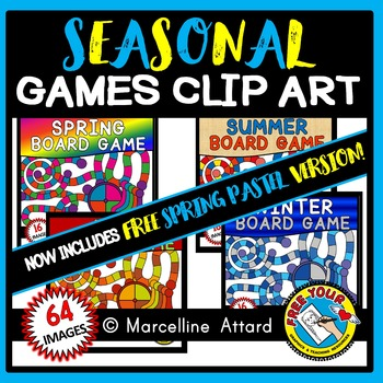 SEASONAL BOARD GAMES CLIPART: SEASONAL CLIPART: SEASONAL GAME BOARD CLIPART