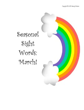 SEASONAL SIGHT WORDS- MARCH/ST. PATRICK'S DAY! Printable for cards, games, more!