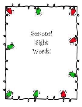 SEASONAL SIGHT WORDS! Winter Sight Word Printable Cards fo