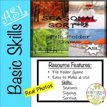 ASL SEASONS GAME SORT File Folder