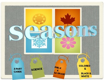 SEASONS 3 PART CARDS:  Colored and Black and White
