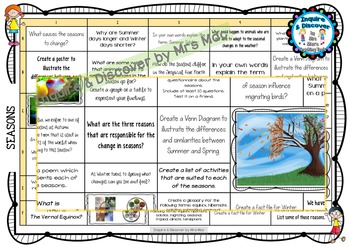 SEASONS RUBRIC - 24 Questions & Answers, Marking Checklist, Success Criteria
