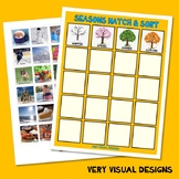 SEASONS MATCH & SORT with PECS PICTURE CARDS weather autism speech therapy task