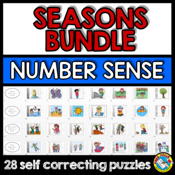 SEASONS MATH CENTER BUNDLE (WINTER ACTIVITY KINDERGARTEN, SPRING, SUMMER, FALL)