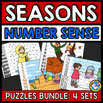 SEASONS MATH CENTER BUNDLE (FALL ACTIVITY KINDERGARTEN, SPRING, WINTER, SUMMER)