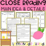 2nd GRADE Close Reading Passages and Questions | Lemonade Stand