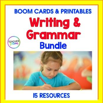 BOOM CARDS 2nd Grade   Digital Task Cards   GRAMMAR WRITING BUNDLE + Printables