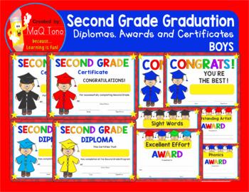 SECOND GRADE GRADUATION BOYS Diplomas Certificates and Awards