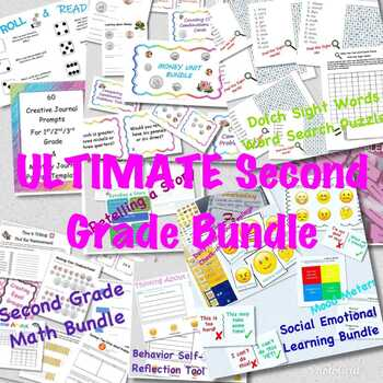 The ULTIMATE Second Grade GROWING BUNDLE (MATH/READING/WRITING/WORD STUDY/SEL)