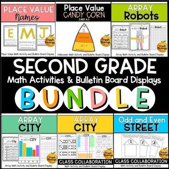 SECOND GRADE Math Activity & Bulletin Board Display BUNDLE