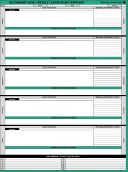 "WEEKLY LESSON PLAN TEMPLATE (Excel)  ""Plan Ahead, Be Organized & Follow-Through"""