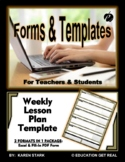"WEEKLY LESSON PLAN TEMPLATE (Excel)  ""Plan Ahead, Be Organ"