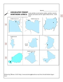 SECONDARY- NORTHERN AFRICA NATION FINDER and FLASH CARDS