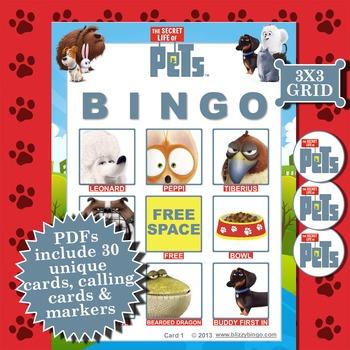 SECRET LIFE OF PETS 3x3  BINGO