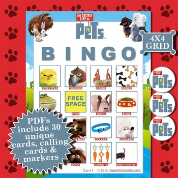 SECRET LIFE OF PETS 4x4  BINGO