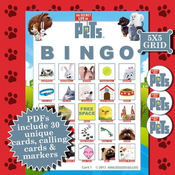 SECRET LIFE OF PETS 5x5  BINGO