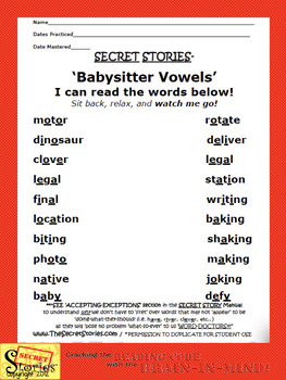 SECRET STORIES® Babysitter Vowels® Phonics Posters (for multi-syllabic words)