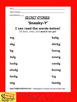 "SECRET STORIES Sneaky Y® Phonics Posters ""Secrets!"""