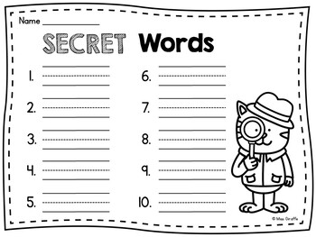 SECRET WORDS Short E Word Families Centers