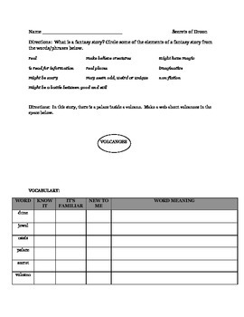 SECRETS OF DROON comprehension packet