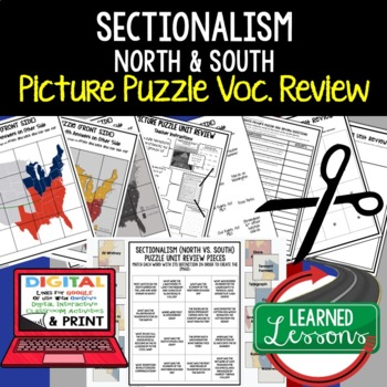 SECTIONALISM NORTH & SOUTH Picture Puzzle Unit Review, Study Guide, Test Prep