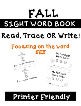 Differentiated SEE Sight Word Book for Emergent Readers, Fall Themed