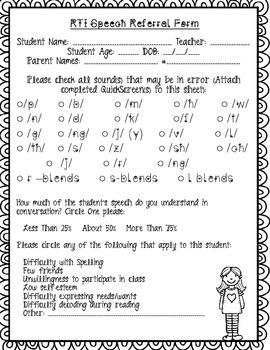 SPEECH RTI Screnner/ Form