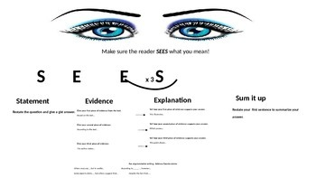 SEES:   A tool for writing CCSS informational and argumentative tasks