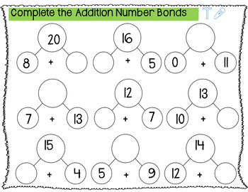 SEESAW Addition Number Fact Activities 1-20
