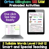 SEESAW Preloaded First Grade Phonics 2 Syllable Words Distance Learning Unit 12