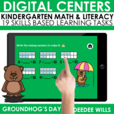 SEESAW Preloaded Themed Math and Literacy Centers Groundhog's Day