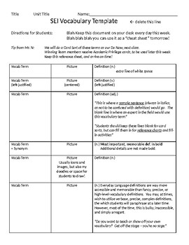 SEI Vocabulary Chart - Guided Template