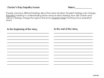 SEL Lesson for Chester's Way Empathy Lesson