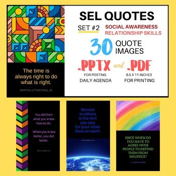 SEL Quotes Set #2 | PowerPoint Template and Mini-Poster Set