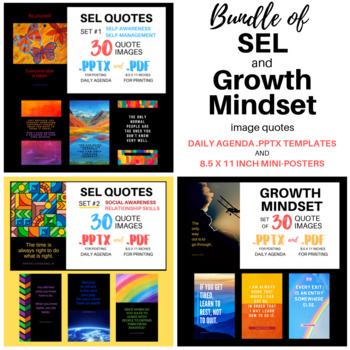 SEL and Growth Mindset Quotes | Bundle of .PPTX Templates & PDF Mini-Posters