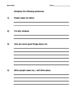 SEL worksheets