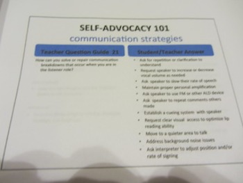 SELF-ADVOCACY 101, Teacher's Tool for School-Aged DHH Students