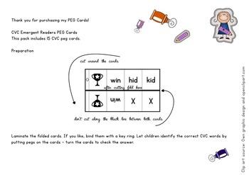 CVC WORDS SELF-CORRECTING Emergent Readers peg cards / task cards