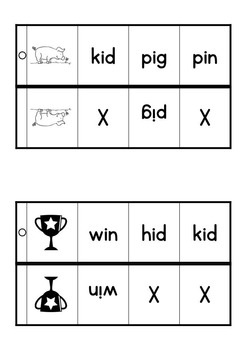 CVC WORDS SELF-CORRECTING Emergent Readers peg cards / task cards