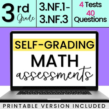 SELF-GRADING 3rd Grade Fraction Quizzes 3.NF.1, 3.NF.2, 3.NF.3