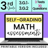 SELF-GRADING 3rd Grade Geometry Quizzes 3.G.1, 3.G.2
