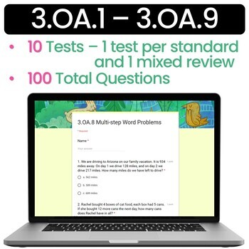 SELF-GRADING 3rd Grade Quizzes Multiplication, Division, and Patterns (3.OA.1-9)