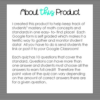 SELF GRADING Google Forms All Numbers and Base Ten Standards- 4th Grade