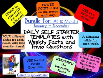 SELF STARTER TEMPLATES {TRIVIA FACTS/TRIVIA QUESTIONS} {BUNDLE- All 12 Months}