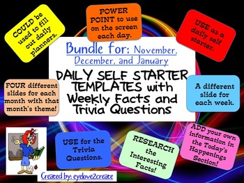 SELF STARTER TEMPLATES {TRIVIA FACTS/TRIVIA QUESTIONS} {BUNDLE-Nov. Dec. Jan.}