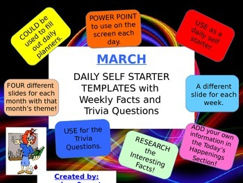 SELF STARTER TEMPLATES {TRIVIA FACTS/TRIVIA QUESTIONS} {March}